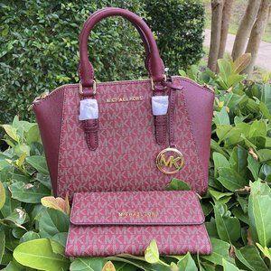 MK Ciara LOGO MD Satchel handbag +  Wallet Oxblood
